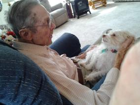 A moment of mutual adoration--Dad and his granddog