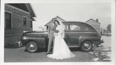 Mom and Dad wedding with car