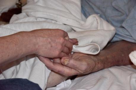 Jane holding dads hand