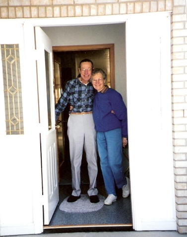 Mom and Dad at door
